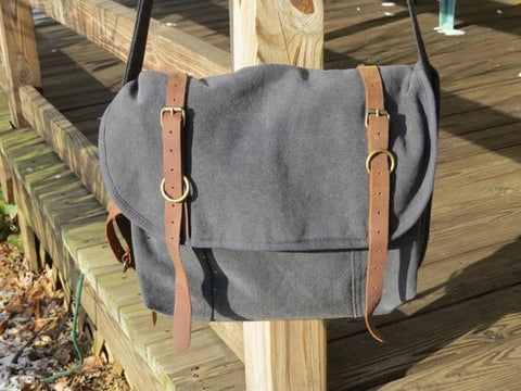 Vintage Canvas Explorer Shoulder Bag with Leather Accents-Main
