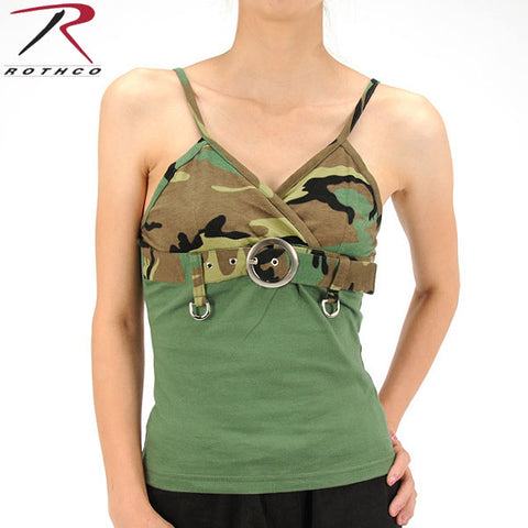 100% Cotton Womens 2-Tone Tank Top with Buckle - Woodland Camo