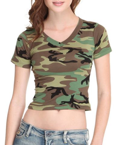 Womens Short Sleeve Camo V-Neck T-Shirt-Main