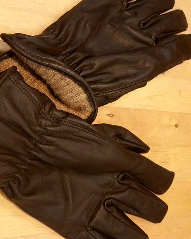 Chocolate Brown Cowhide leather work glove with alpaca wool knit interior
