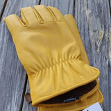 Tan Cowhide Leather Work Gloves with Alpaca wool knit interior