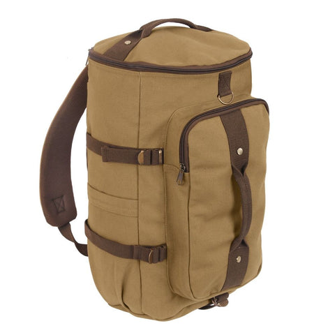 Convertible 19 Canvas Duffle Backpack - Coyote / Brown