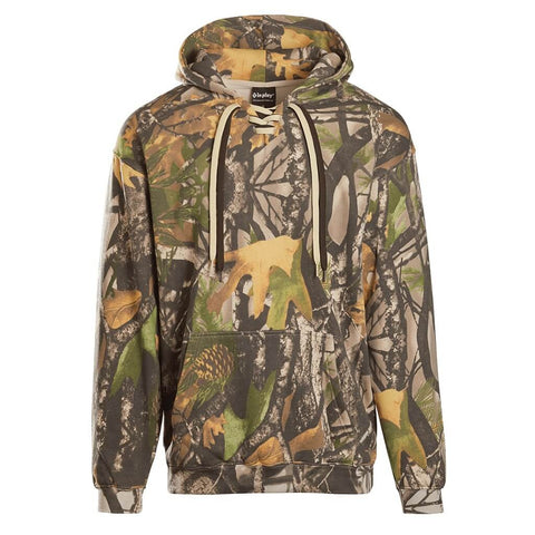 Lace Up Hooded Sweatshirt - Camo