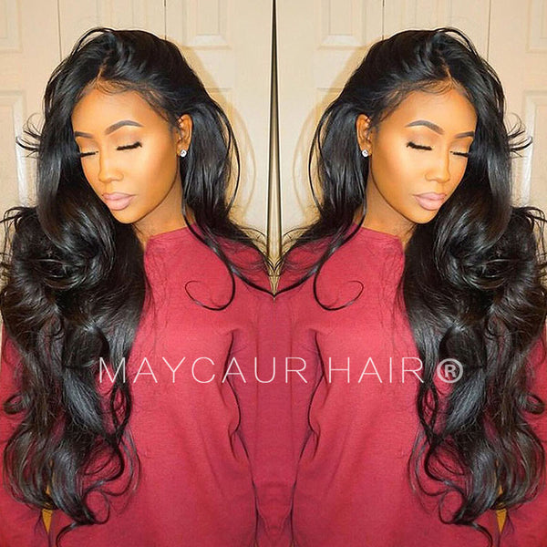 Full Lace Human Hair Wigs With Baby Hair Body Wave  1B Brazilian Virgin Hair  Lace 327a75b89