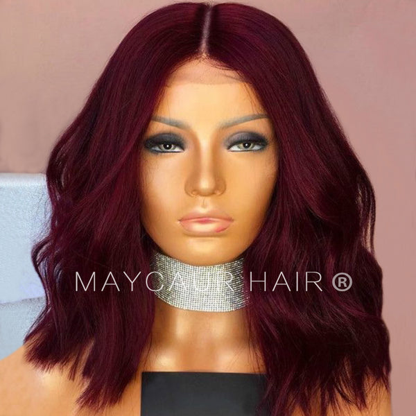 Black Red Color Full Lace Human Hair Wigs Short Bob Hair Wavy Lace Front Human  Hair f9ec8bff9ab1