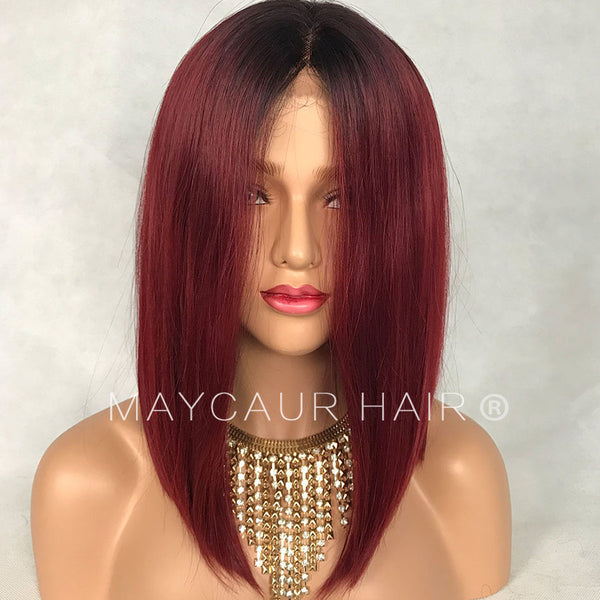 Black Red Ombre Short Bob Lace Wigs With Natural Hairline Straight