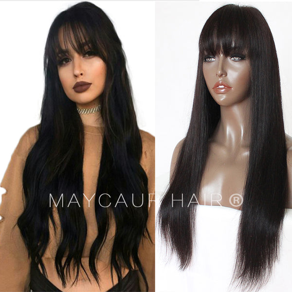 Glueless Lace Front Human Hair Wig With Bang