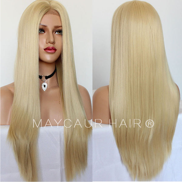 High Temperature Fiber Hair Glueless Long Straight Blonde Synthetic Lace  Front Wigs-Maycaur d0579f6ed