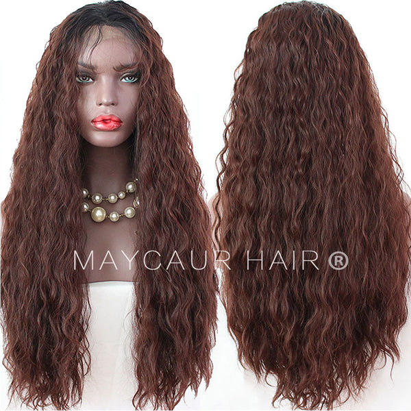 Long Curly Synthetic Lace Front Wigs for Women Black Ombre  33 Color  Glueless Lace Wig e1f8a2a4b
