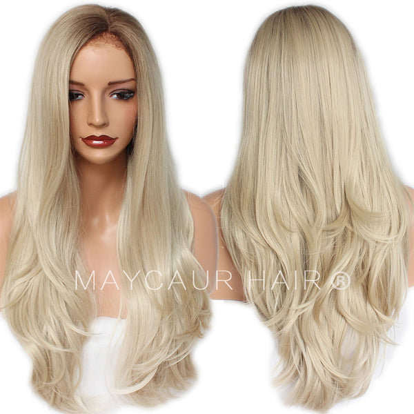 Long Straight Wig with Natural Hairline Synthetic Lace Front Wigs  4 Blonde  Ombre Color- 53e1335c1