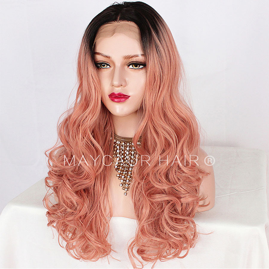 Black Pink Color Glueless Lace Wigs Natural Wave Synthetic
