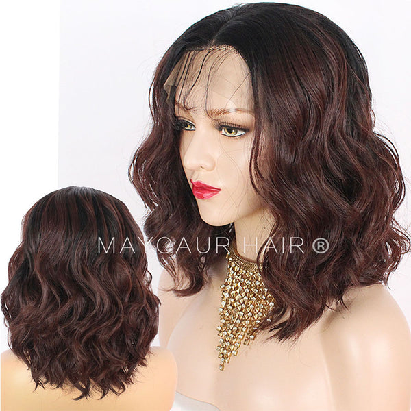 Black Brown #33 Ombre Color Short Wavy Wig