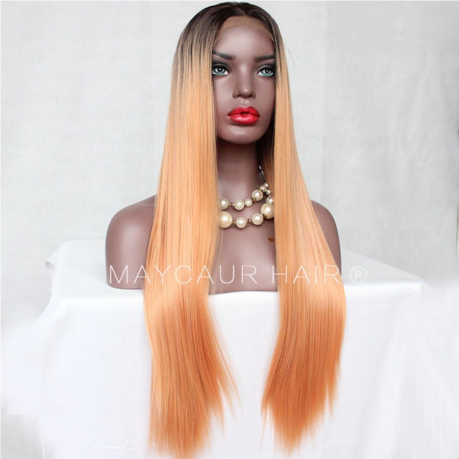 Black Orange Color Synthetic Lace Front Wigs Long Natural