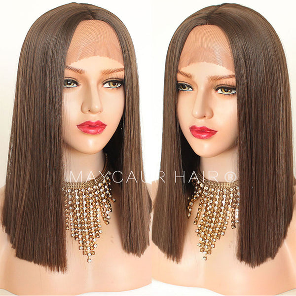 #8 Brown Color Short Bob Synthetic Lace Front