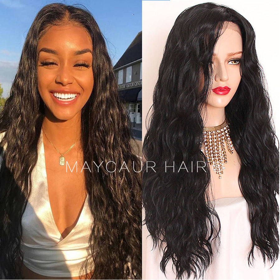 Long Black Curly Hair Wig Glueless Lace Wig Loose Wave Synthetic Lace –  maycaur hair 46725270d