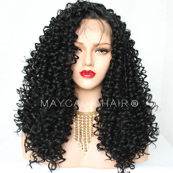 Glueless Lace Front Wigs Synthetic Kinky Curly Hair Black Color Long
