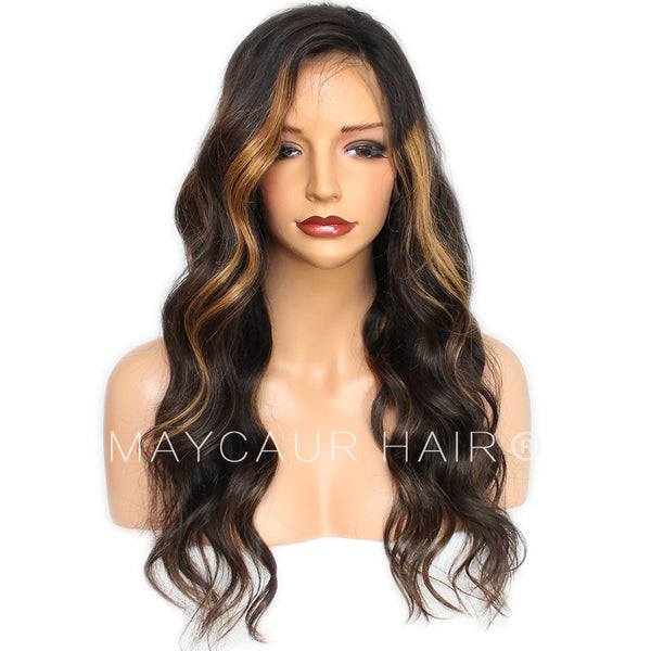 Ombre Full Lace Human Hair Wig Highlight Color Remy Lace Front Wig For  Black Women- ba34173eaa