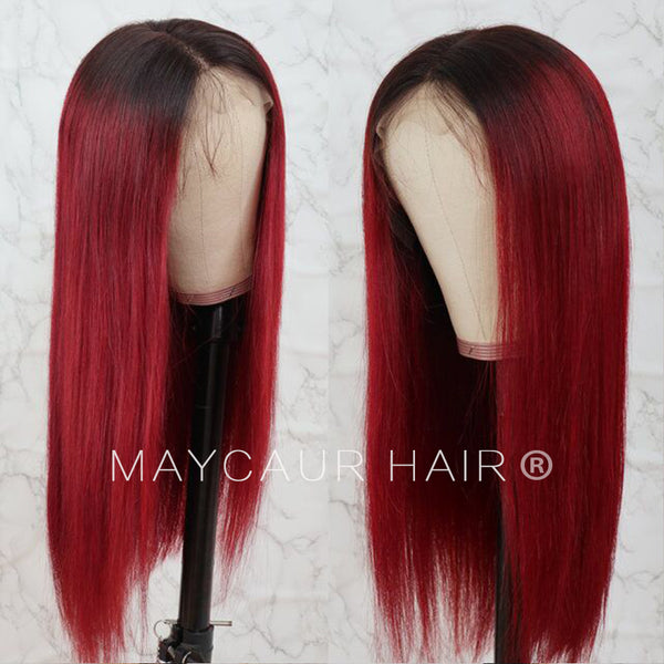 Red Ombre Human Hair Lace Front Wig Silky