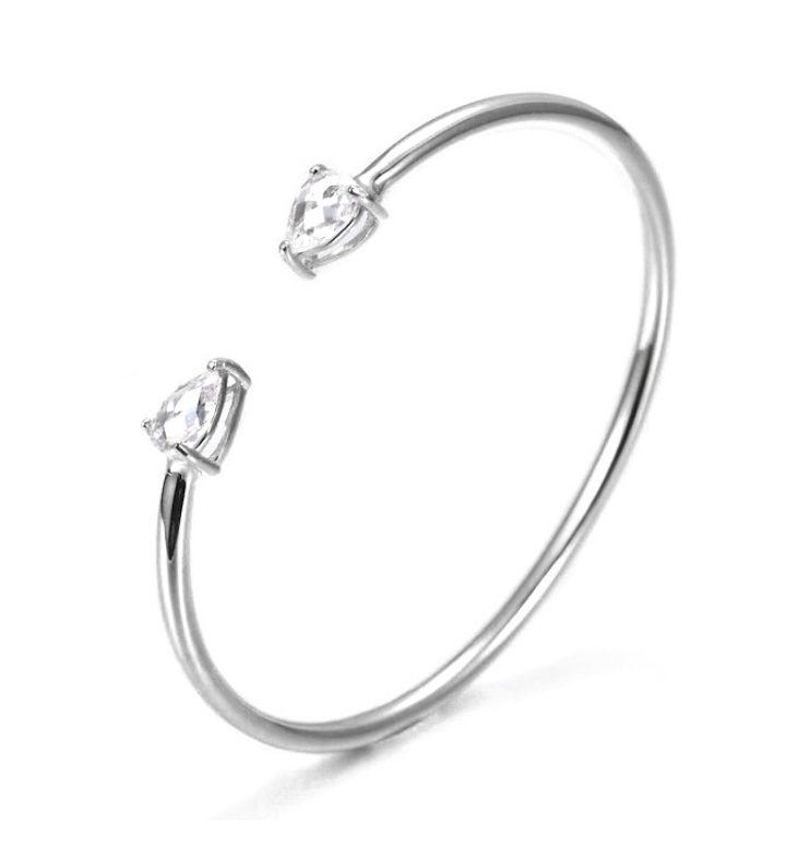 Diamond Cuff Bangle Silver
