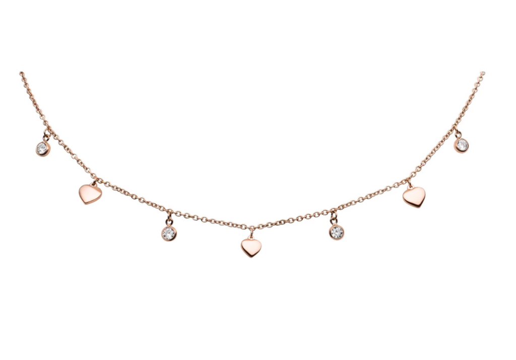 'DROP & HEART' Choker Rose