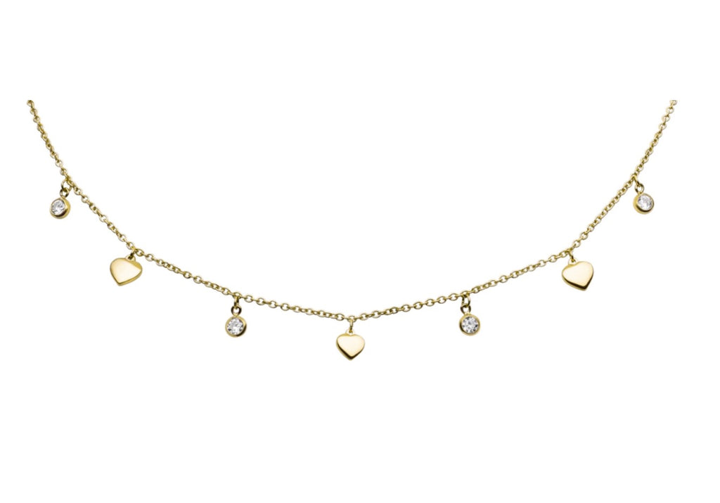 'DROP & HEART' Choker Gold