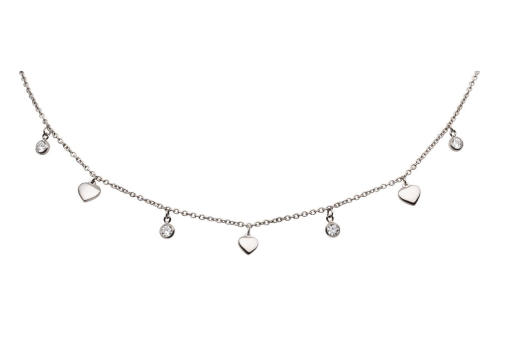 'DROP & HEART' Choker Silver