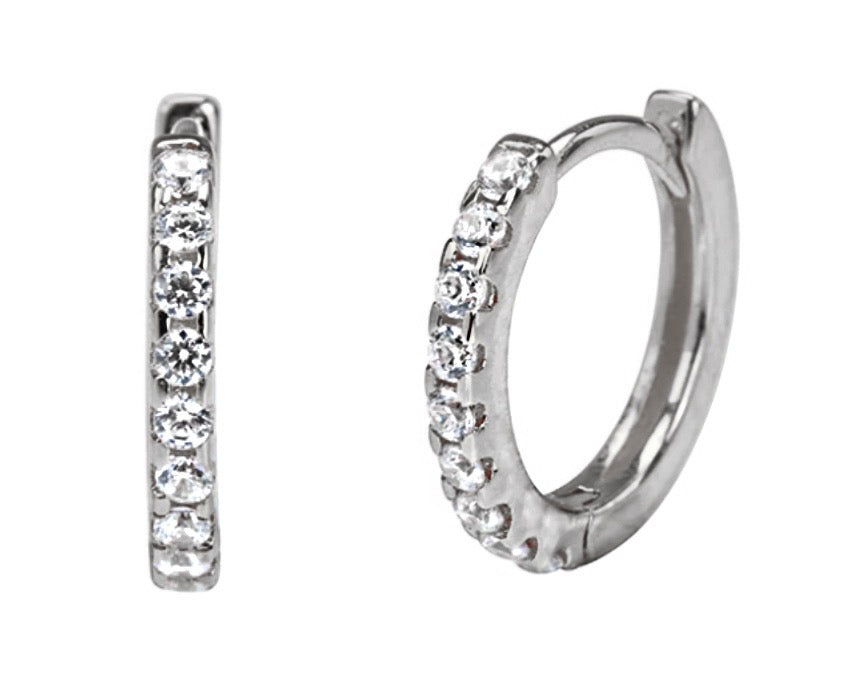 Diamond Circle Hoops Silver