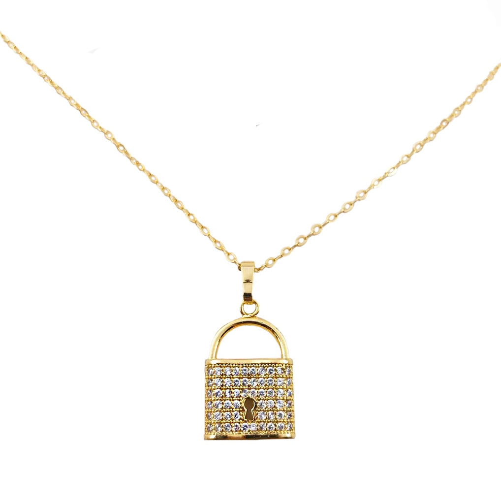 Crystal Padlock Necklace Gold