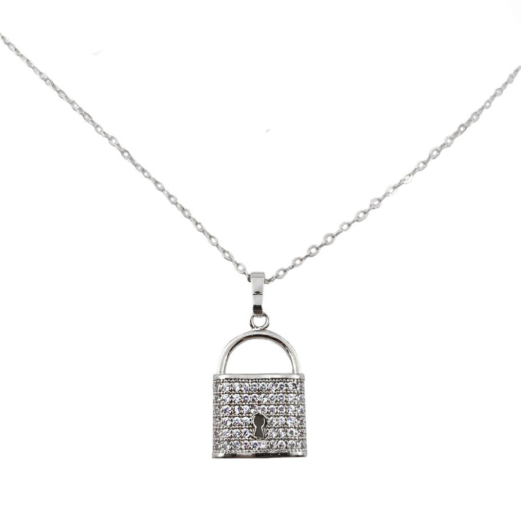Crystal Padlock Necklace Silver
