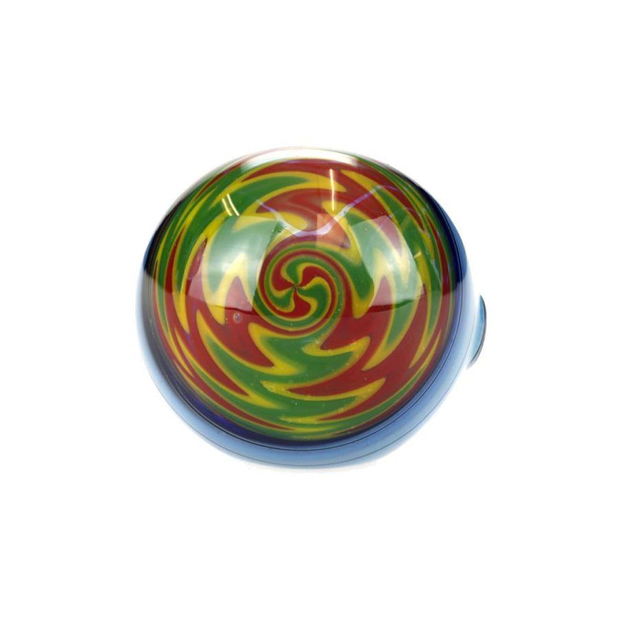G-Spot Blue Switchback Spoon Pipe with Rasta Swirl