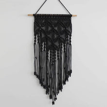 Load image into Gallery viewer, Macrame Wall Hanging Woven Tapestry Boho Wall Decor Black