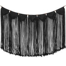 Load image into Gallery viewer, Large Macrame Woven Wall Hanging Curtain Fringe Banner Black