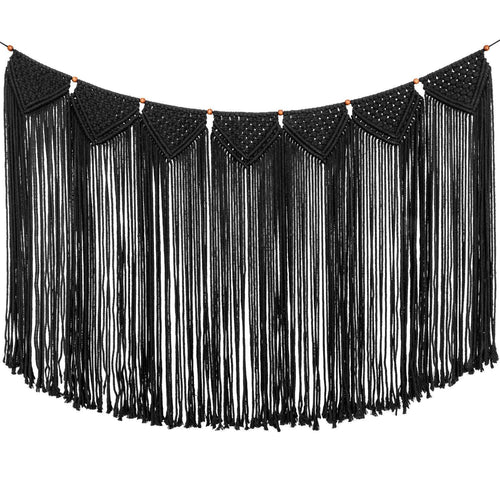 Large Macrame Woven Wall Hanging Curtain Fringe Banner Black