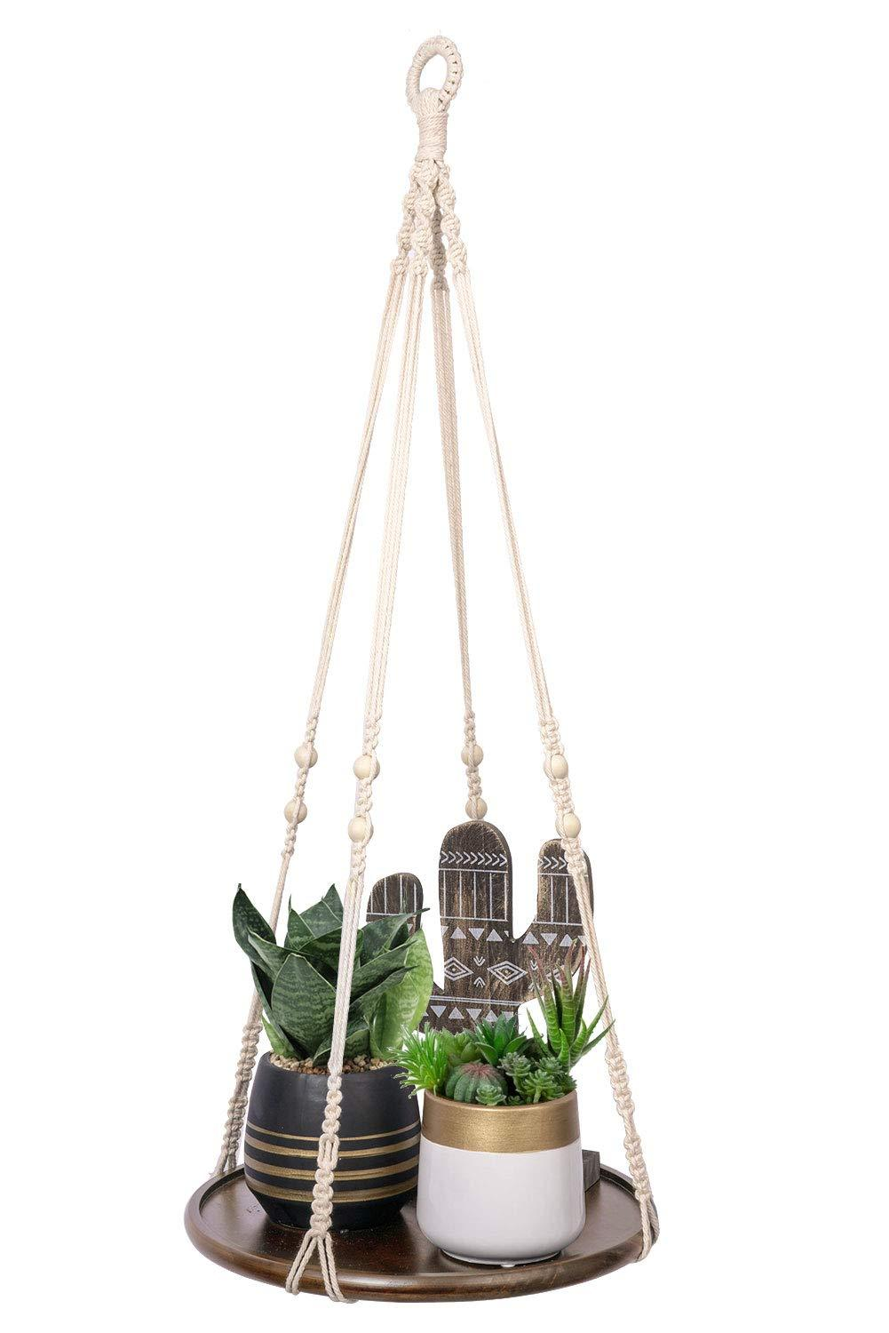 Macrame Indoor Hanging Planter Wall Shelf Hanger