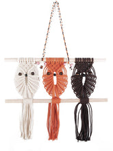 Load image into Gallery viewer, Three Owls Macrame Woven Wall Hanging Boho Nursery Decor