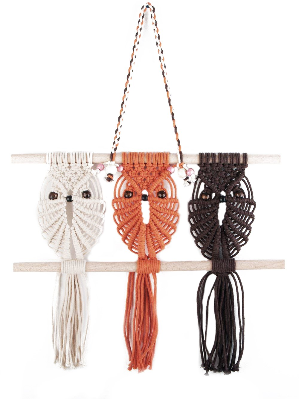 Three Owls Macrame Woven Wall Hanging Boho Nursery Decor