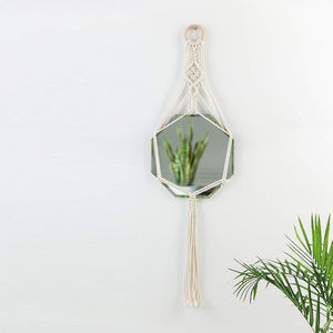 Macrame Hanging Wall Mirror Small Octagon Boho Wall Decor
