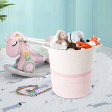 Load image into Gallery viewer, Cotton Rope Storage Basket Pink with Handles