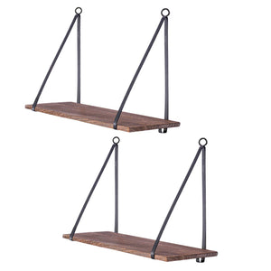 Wood Floating Shelf with Metal Brackets Set of 2