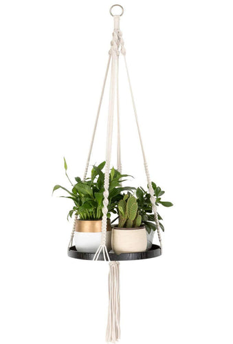 Macrame Indoor Hanging Planter Wall Shelf Hangers Black