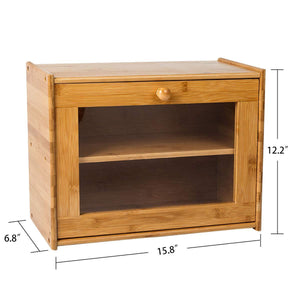 2-Layer Bamboo Bread Box Counter top Bread Storage Bin