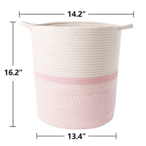 Cotton Rope Storage Basket Pink with Handles