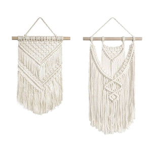 Macrame Wall Hanging Small Art Woven Tapestry 2 Pcs