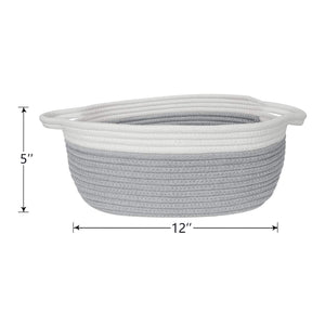 Small Grey Cotton Rope Woven Basket