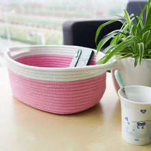 Load image into Gallery viewer, Small Pink Cotton Rope Woven Basket