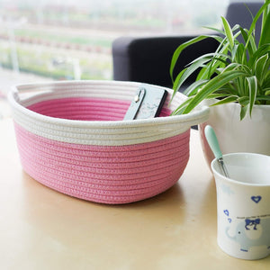 Small Pink Cotton Rope Woven Basket