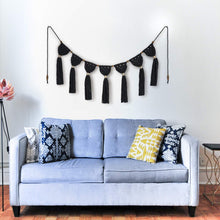 Load image into Gallery viewer, Macrame Woven Wall Hanging Fringe Garland Banner Black