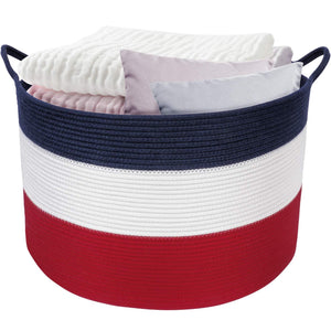 Rope Woven Laundry Basket with Handles for Clothes Hamper