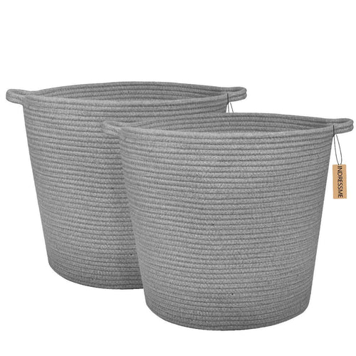 Laundry Cotton Basket Grey Set of 2