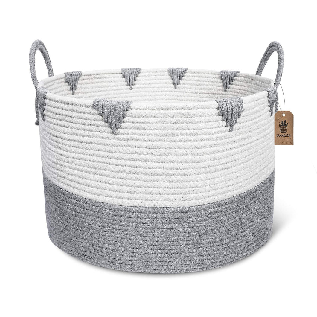 Large Cotton Rope Woven Basket with Handles